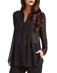 Bcbgeneration Box Pleated Sheer Chiffon Blouse
