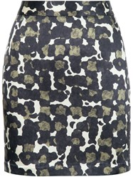 Dsquared2 Silk Camouflage Skirt Black