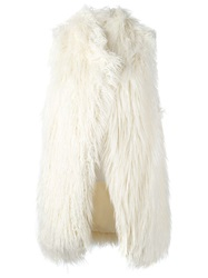 Dkny Faux Fur Vest Nude And Neutrals