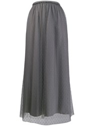 Red Valentino Tulle Layered Long Skirt Grey