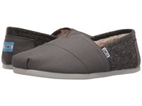 Toms Seasonal Classics Castlerock Grey Coated Canvas Fleck Men's Slip On Shoes Gray