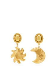 Sylvia Toledano Mismatched Moon And Star Clip Earrings Gold