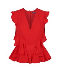 Alexander Mcqueen Ruffle V Neck Top Female Red
