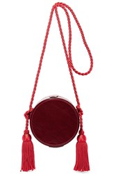 Hillier Bartley Tasseled Collarbox Glossed Leather Shoulder Bag Burgundy