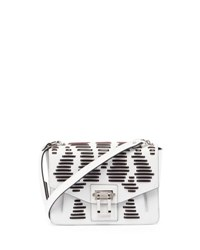 Proenza Schouler Hava Laced Leather Shoulder Bag White Black Black White