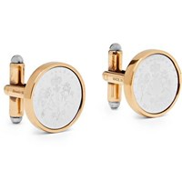 Alexander Mcqueen Logo Engraved Silver And Gold Tone Cufflinks Gold