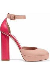Red Valentino Two Tone Leather Platform Pumps Blush