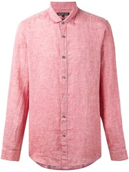Michael Kors Casual Shirt Men Linen Flax S Red