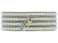 Chan Luu 32' Turquoise Mix Beige Wrap With Charm Bracelet Turquoise Mix Beige Bracelet Brown