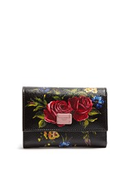 Dolce And Gabbana Floral Print Leather Wallet Black Pink