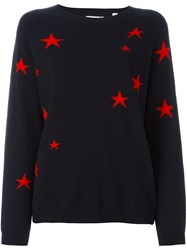 Chinti And Parker Star Detail Slouch Sweater Blue