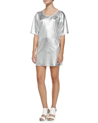 Mcq By Alexander Mcqueen Short Sleeve Silver Foil T Shirt Dress Optic White