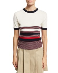 Rag And Bone Krista Striped Short Sleeve Sweater Off White Multi Pattern
