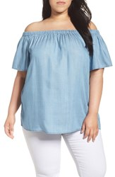 Vince Camuto Plus Size Women's Two By Chambray Off The Shoulder Top