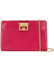 Givenchy Flat Grained Evening Clutch Pink And Purple