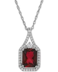 Macy's Lab Created Ruby 3 1 10 Ct. T.W. And White Sapphire 1 4 Ct. T.W. Pendant Necklace In Sterling Silver
