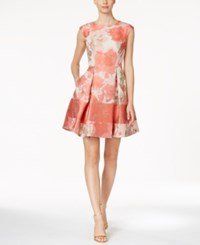 Vince Camuto Floral Print Fit And Flare Dress Peach Ivory