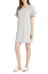 Wit And Wisdom Lace Up Ruffle Dress Heather Grey