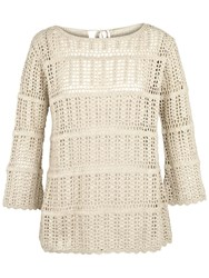 Fat Face Cara Crochet Jumper Ivory