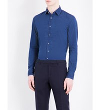 Slowear Micro Dot Regular Fit Cotton Shirt Indigo
