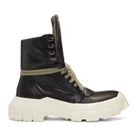 Rick Owens Black And Off White Hiking Sneaker Boots
