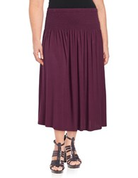Lord And Taylor Plus Smocked Waist Convertible Skirt Purple
