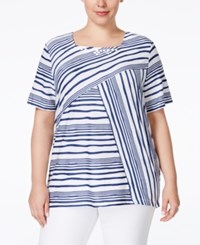 Alfred Dunner Plus Size St. Augustine Collection Embellished Striped Blouse Navy