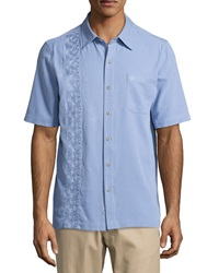 Nat Nast Insider Silk Embroidered Sports Shirt Seawater