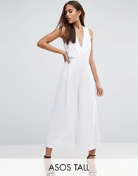 Asos Tall Jumpsuit With Origami Detail And Culotte Leg White