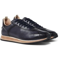 Officine Creative Keino Polished Leather Sneakers Navy