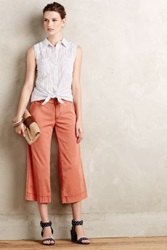 Anthropologie Cropped Wide Legs Red