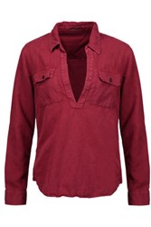 Mother Frenchie Cotton Blend Top Claret