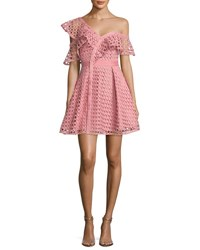 Self Portrait Lace Frill Asymmetric Cold Shoulder Fit And Flare Mini Dress Pink