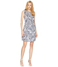 Tribal Printed Dress With Placket And Waist Tie Blue Haze
