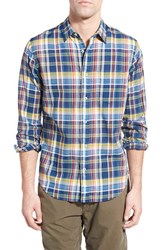 Men's Relwen 'Airtex Madras' Classic Fit Plaid Sport Shirt Blue Yellow Multi
