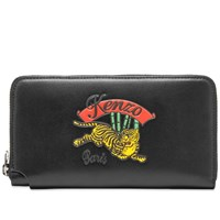 Kenzo Jumping Tiger Leather Continental Wallet Black
