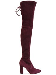 Jean Michel Cazabat Karmina Thigh High Boots Leather Goat Suede Pink Purple