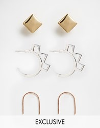 Designsix Exclusive Clean Mix Multipack Earrings Gold