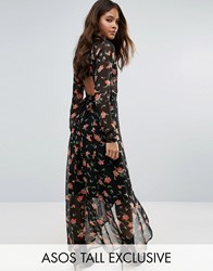 Asos Tall Maxi Dress In Pretty Floral With Open Back Multi Blue
