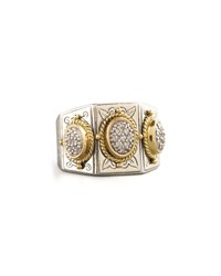 Three Stone Pave Ring Konstantino Silver Gold