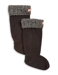 Hunter Cable Knit Cuff Welly Socks Charcoal Grey