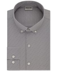 Kenneth Cole Reaction Men's Slim Fit Techni Flex Collar Performance Gray Print Dress Shirt Greystone