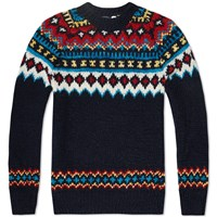 Chamula Fair Isle Pullover Knit Navy