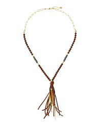 Nakamol Long Beaded Agate Necklace W Leather Tassel And Horn Charm Brown