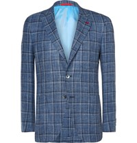 Isaia Blue Slim Fit Checked Wool Linen And Silk Blend Blazer Blue