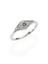 Jacquie Aiche Blue Diamond And 14K White Gold Eye Ring