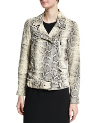 Elizabeth And James Corlyn Snake Embossed Leather Jacket Natural