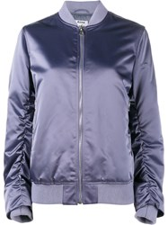 Acne Studios Ruched Sleeve Bomber Jacket Pink And Purple