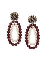 Marni Beaded Strass Clip On Earrings Red