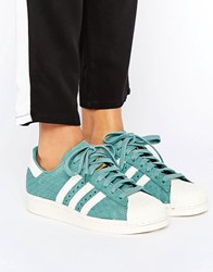 Adidas Originals Teal Embossed Snake Print Superstar Trainers Green